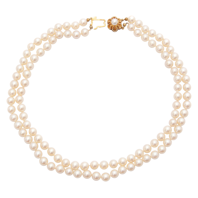 14 Karat Yellow Gold Pearl Necklace