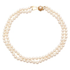 14 Karat Yellow Gold Pearl Necklace