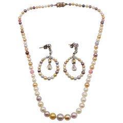 Edwardian Multicolored Natural Pearl, Colored Diamond Necklace Earring Set