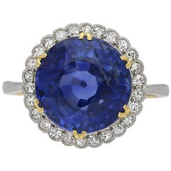 Edwardian Natural Ceylon Sapphire and Diamond Coronet Cluster Ring, circa 1915