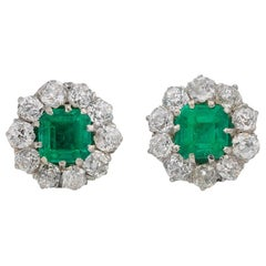 Edwardian Natural Colombian Emerald and Diamond Cluster Earrings, circa 1910