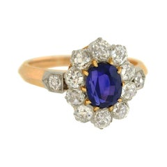 Edwardian Natural Color Changing Sapphire Diamond Ring with French Hallmarks