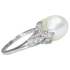 Edwardian Natural Oriental Pearl and Diamond Ring, circa 1910