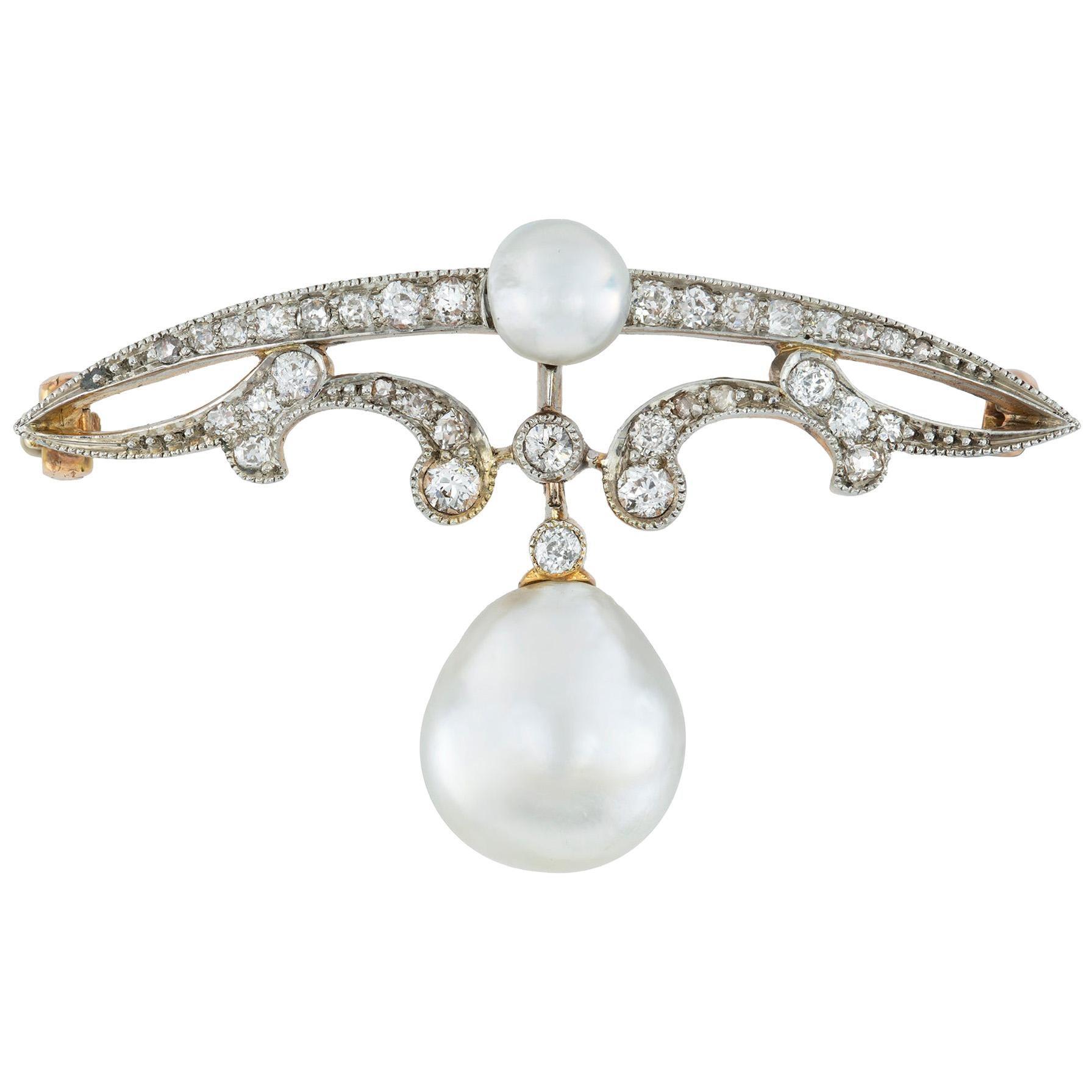 Edwardian Natural Pearl and Diamond Brooch