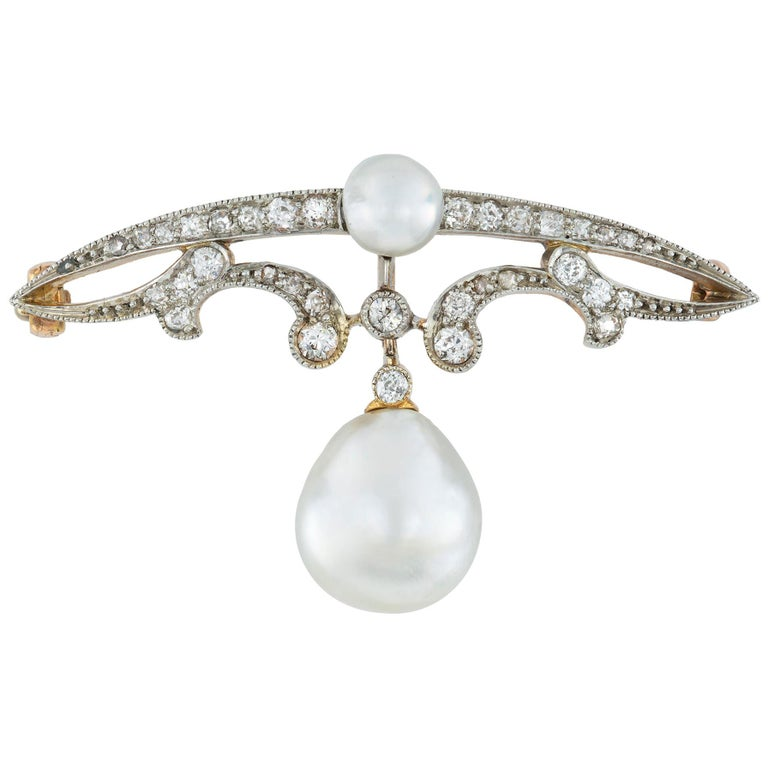 Edwardian Natural Pearl and Diamond Brooch For Sale