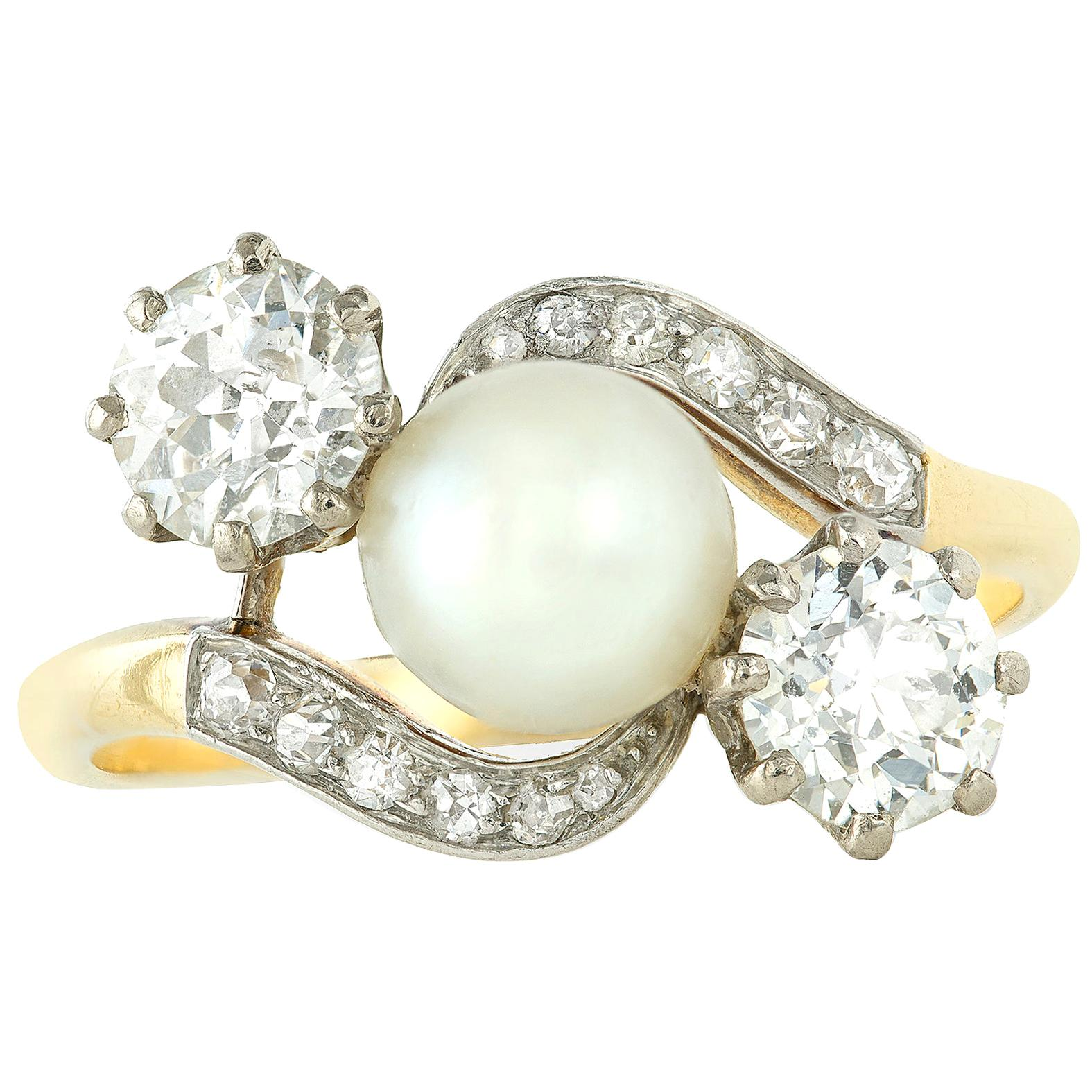 Edwardian Natural Pearl and Diamond Cross Over Ring