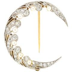 Edwardian Natural Pearl and Diamond Moon Brooch