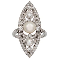 Edwardian Natural Pearl and Diamond Navette-Shaped Ring