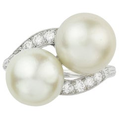 Edwardian Natural Pearl and Diamond Ring