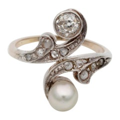 Edwardian Natural Pearl and Diamond Toi et Moi Engagement Ring