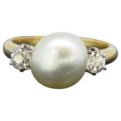 Edwardian Natural Pearl and Diamonds Yellow Gold Platinum Ring