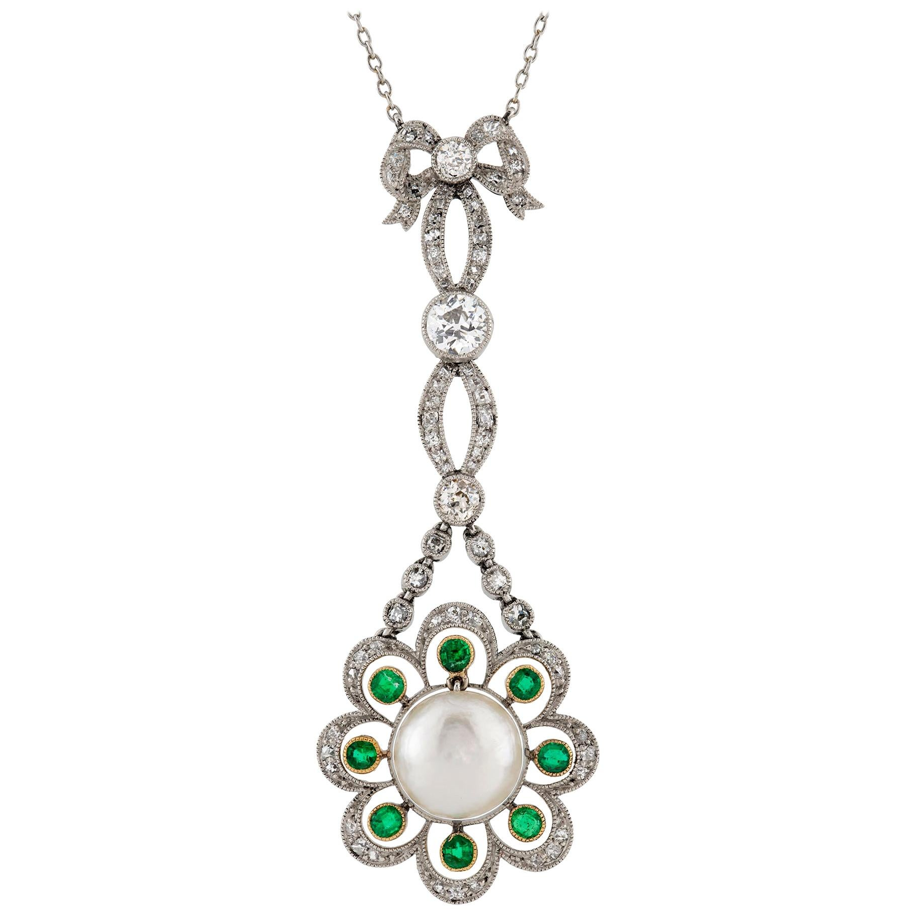 Edwardian Natural Pearl, Diamond and Emerald Pendant