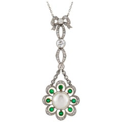 Edwardian Natural Pearl, Diamond and Emerald Pendant