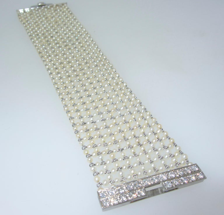 Edwardian Natural Pearl, Diamond and Platinum Bracelet, circa 1915 In Excellent Condition For Sale In Aspen, CO