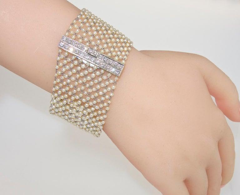 Women's or Men's Edwardian Natural Pearl, Diamond and Platinum Bracelet, circa 1915 For Sale