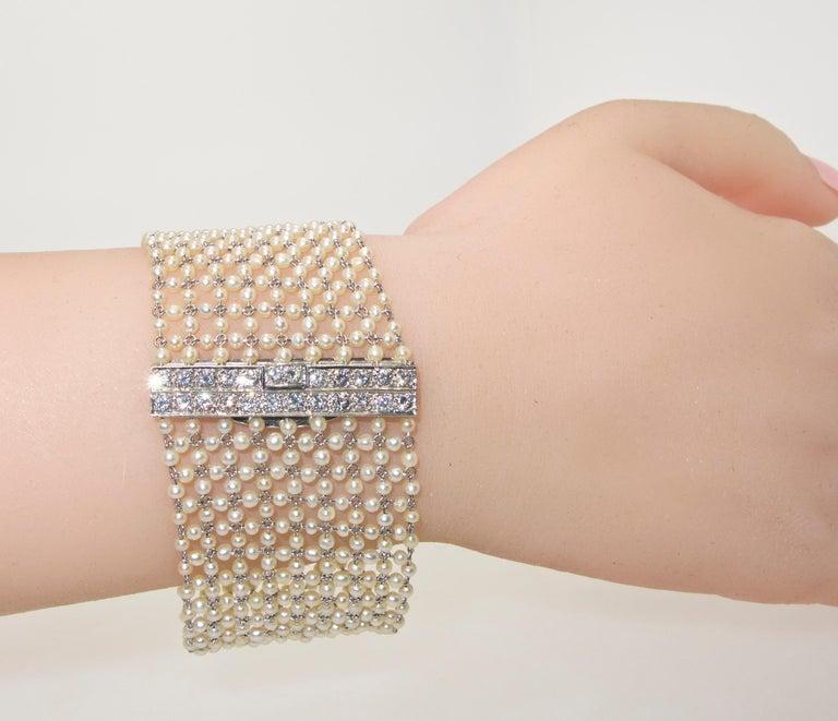 Edwardian Natural Pearl, Diamond and Platinum Bracelet, circa 1915 For Sale 2