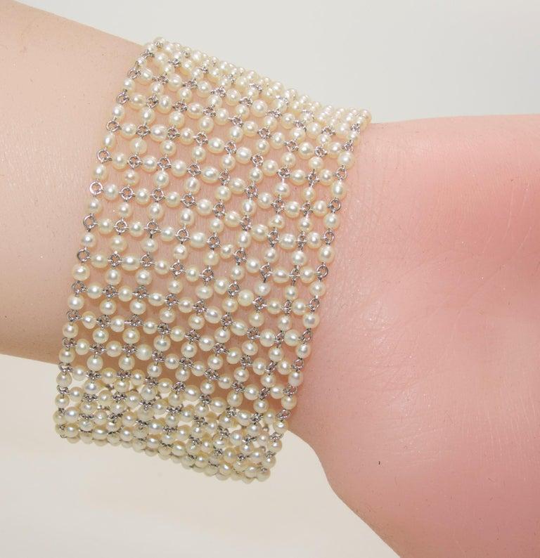 Edwardian Natural Pearl, Diamond and Platinum Bracelet, circa 1915 For Sale 3
