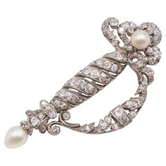 Edwardian Natural Pearl, Diamond and Platinum Ceremonial Sword Brooch