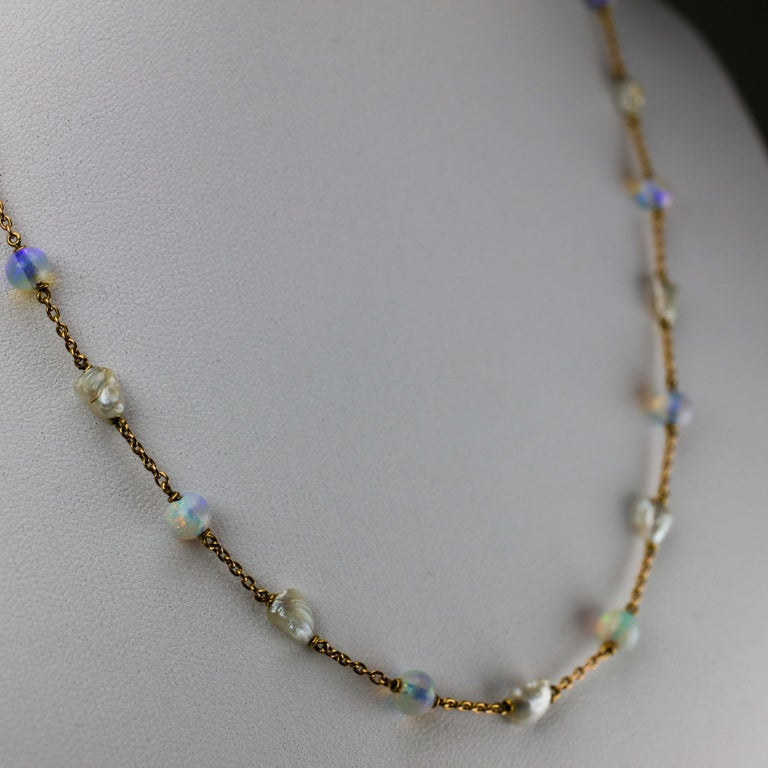 Women's or Men's Edwardian Natural Pearl and Opal Necklace For Sale