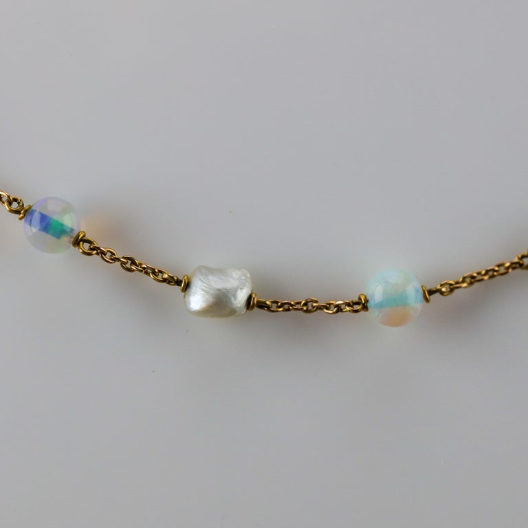 Edwardian Natural Pearl and Opal Necklace For Sale 1