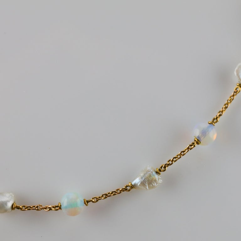 Edwardian Natural Pearl and Opal Necklace For Sale 2