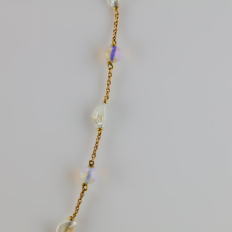 Edwardian Natural Pearl and Opal Necklace For Sale 3