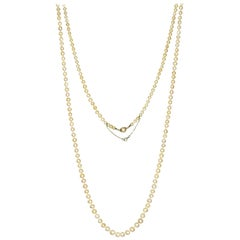 Edwardian Natural Pearl Platinum Long Chain Necklace