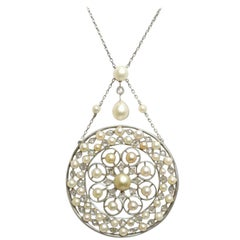 Edwardian Natural Pearl Platinum Pendant Necklace