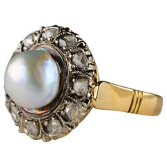 Edwardian Natural Pearl Ring with Rose-Cut Diamonds
