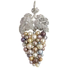 Edwardian Natural Pearl Vine Grapes Pendant, circa 1910s