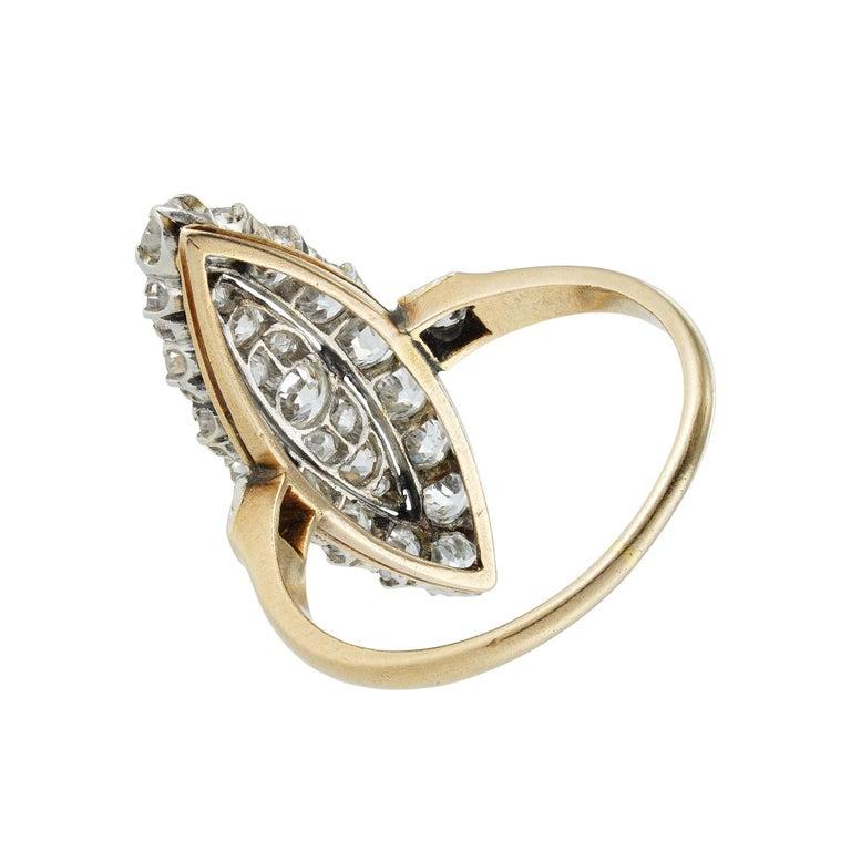 Rose Cut Edwardian Navette Plaque Old Brilliant-Cut Diamond Ring For Sale