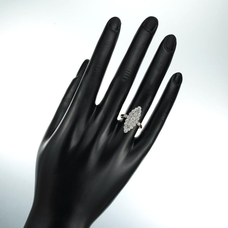 Edwardian Navette Plaque Old Brilliant-Cut Diamond Ring In Good Condition For Sale In London, GB