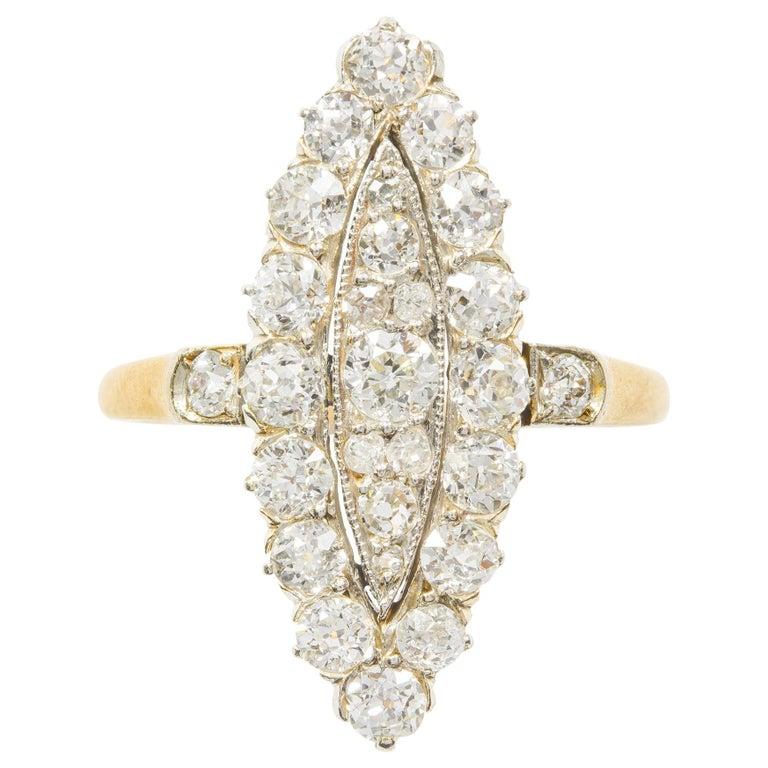 Edwardian Navette Plaque Old Brilliant-Cut Diamond Ring For Sale