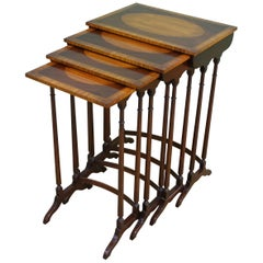 Edwardian Nest of 4 Satinwood Inlaid Mahogany Tables