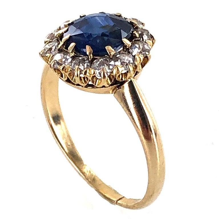 Old Mine Cut Edwardian No Heat Blue Sapphire Diamond 18 Karat Yellow Gold Ring AGL Certified For Sale