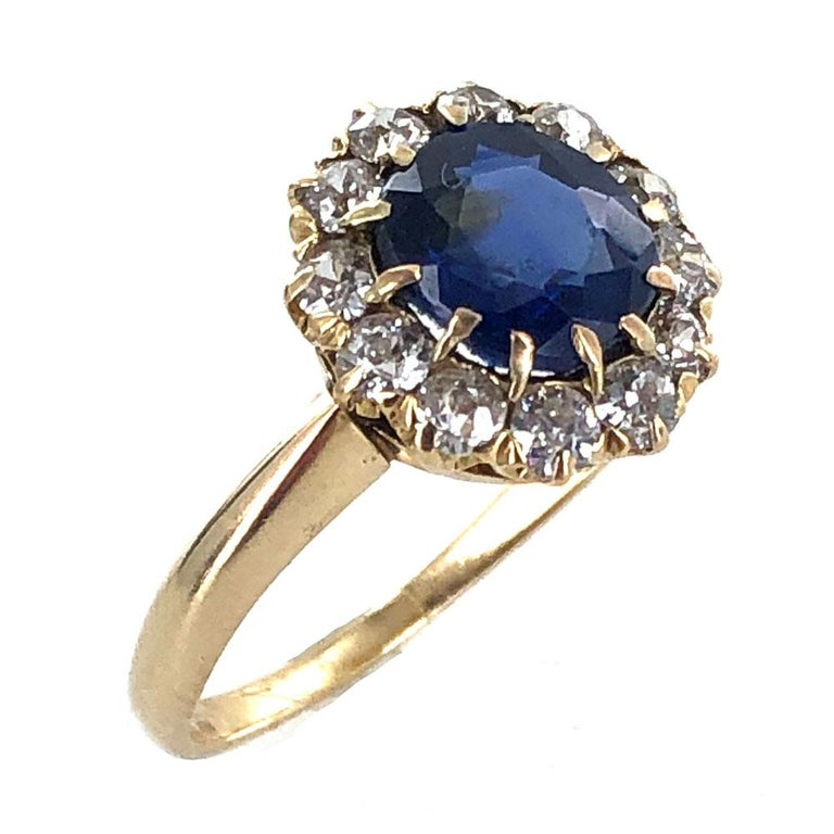 Edwardian No Heat Blue Sapphire Diamond 18 Karat Yellow Gold Ring AGL Certified In Excellent Condition For Sale In Boca Raton, FL