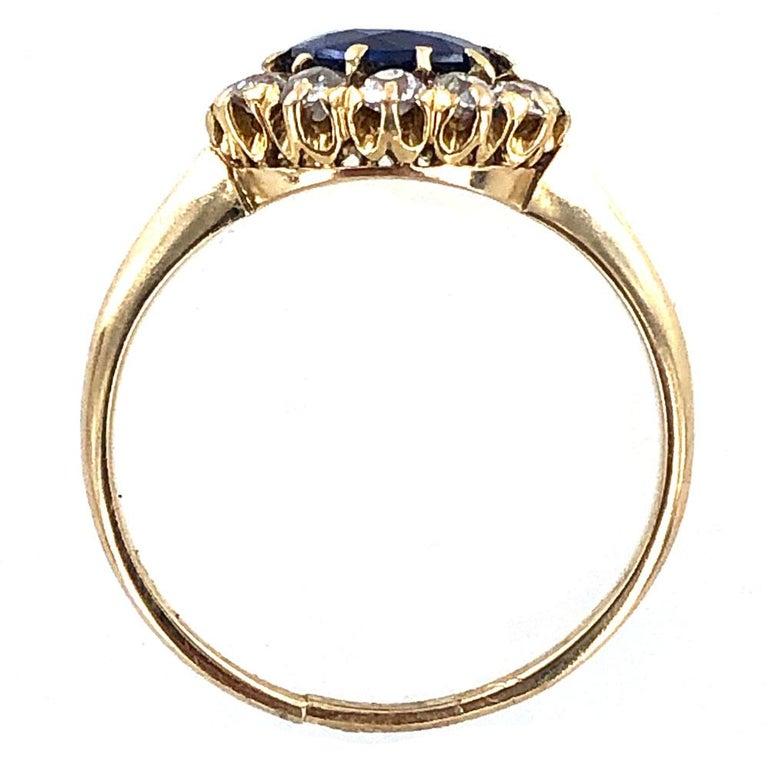 Women's Edwardian No Heat Blue Sapphire Diamond 18 Karat Yellow Gold Ring AGL Certified For Sale