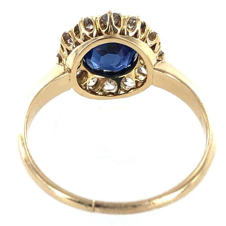 Edwardian No Heat Blue Sapphire Diamond 18 Karat Yellow Gold Ring AGL Certified For Sale 1
