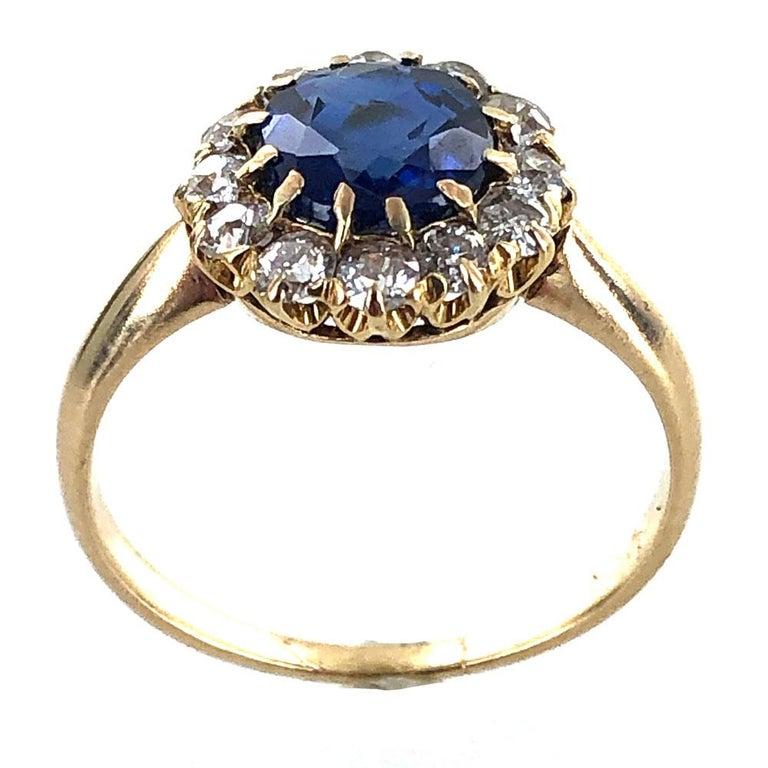 Edwardian No Heat Blue Sapphire Diamond 18 Karat Yellow Gold Ring AGL Certified For Sale 2