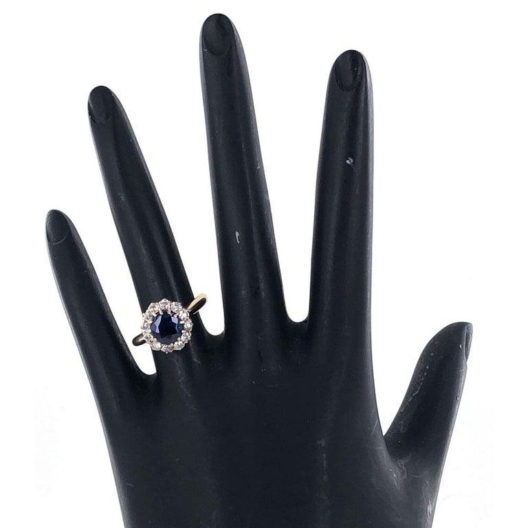 Edwardian No Heat Blue Sapphire Diamond 18 Karat Yellow Gold Ring AGL Certified For Sale 3