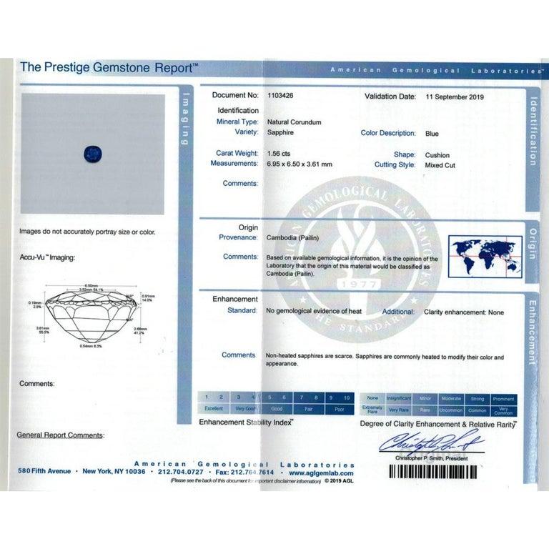Edwardian No Heat Blue Sapphire Diamond 18 Karat Yellow Gold Ring AGL Certified For Sale 4