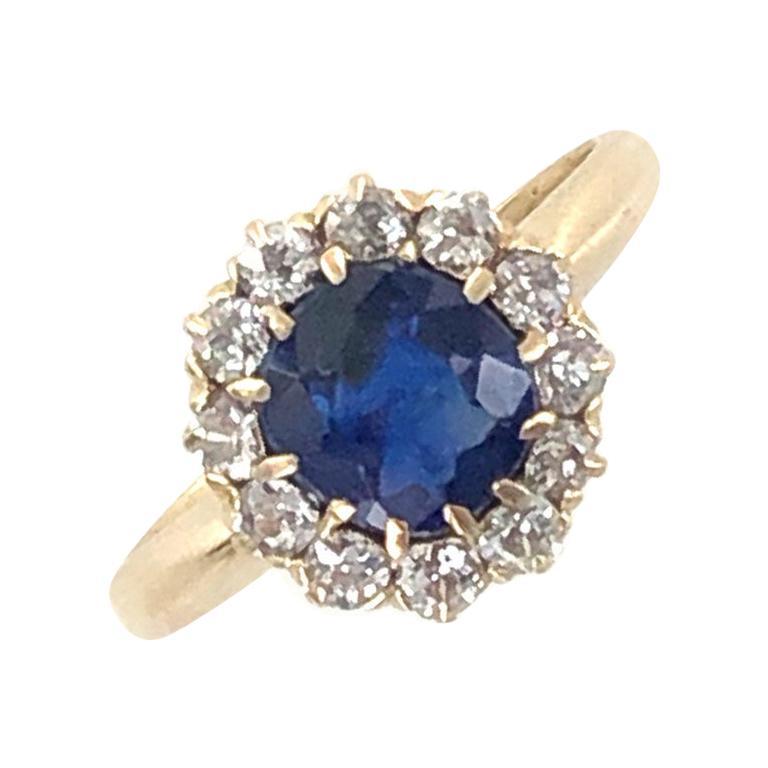 Edwardian No Heat Blue Sapphire Diamond 18 Karat Yellow Gold Ring AGL Certified For Sale