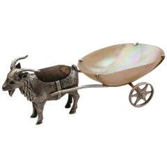 Edwardian Novelty Silver Goat Pulling a Cart Pin Cushion, Adie & Lovekin, 1909