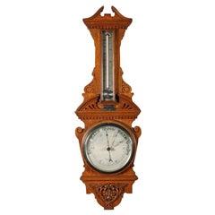 Edwardian Oak Aneroid Barometer, 20th Century
