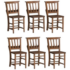 Edwardian Oak Dining Chairs, England, circa 1910