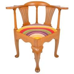 Edwardian Oak English Corner Chair, circa 1910