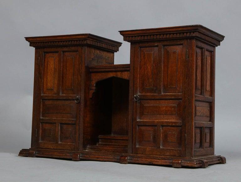 Edwardian Oak Hanging or Desk Cabinet For Sale 1
