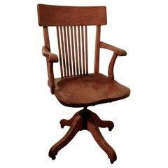 Edwardian Oak Office or Desk Chair