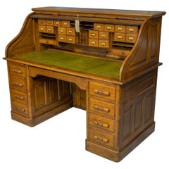 Edwardian Oak Roll Top Desk