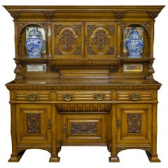 Edwardian Oak Sideboard by J. Cambell & Co Cabinet Makers Glasgow